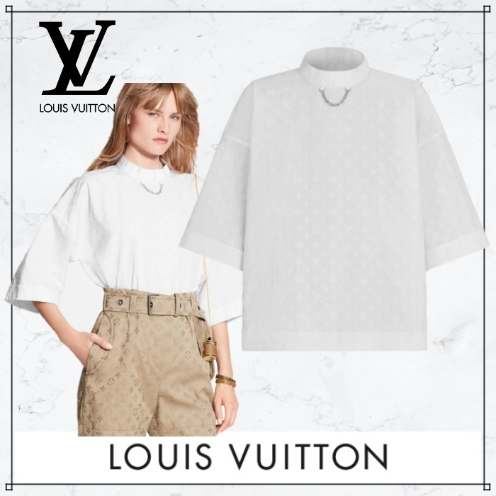 《21SS★》Louis Vuittonモノグラムコットン ブラウス チェーン (Louis Vuitton/ブラウス・シャツ) 1A8L49