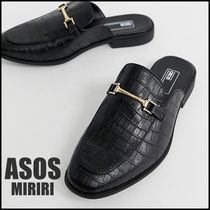 【ASOS】backless mule loafer in black faux leather★送料込★