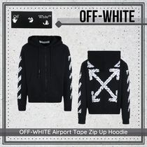 {Off-White} OFF-WHITE Airport Tape Zip Up Hoodie 送料関税込