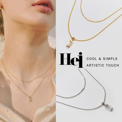 Hei ネックレス・ペンダント 韓国発【Hei】baguette layered necklace☆追跡付