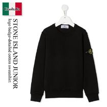 Stone Island Junior logo badge-detailed cotton sweatshirt