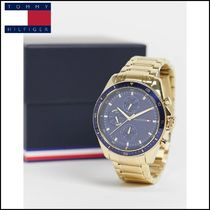 【Tommy Hilfiger】 mens gold bracelet watch with blue dial
