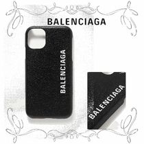 NEW!★バレンシアガ★Printed textured-leather iPhone 11 case
