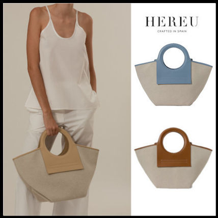 【HEREU】CALA S - Leather-trimmed Canvas Tote