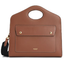 【BURBERRY】LEATHER POCKET TOTE BAG