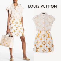 LOUIS VUITTON - MONOGRAM OMBRE SLEEVELESS SILK SHIRT DRESS