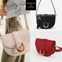 Charles & Keith★Metallic  Saddle Shoulder Cross Bag ★4色