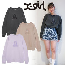 【X-girl】3色展開* USED感が◎ FACE PIGMENT DYED SWEAT TOP♪