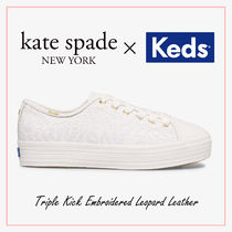 国内発送☆kedsコラボ Triple Kick Embroidered Leopard Leather