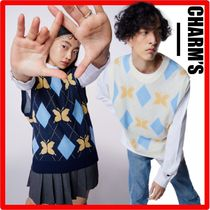 Charm's(チャームス) ベスト・ジレ 韓国の人気★【CHARM'S】★CHARMS BUTTERFLY ARGYLE KNIT VES.T
