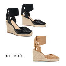 【Uterque】TIED BRAIDED LEATHER WEDGE