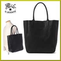 IL BISONTE 黒レザートートバッグ
