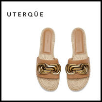 【Uterque】JUTE LEATHER SANDAL WITH ADORNMENT