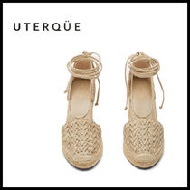 【Uterque】EMBROIDERED JUTE WEDGE