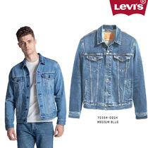 LEVI'S|MEDIUM BLUE Button Up Jean Denim Trucker Jacket Me