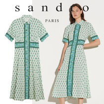 sandro(サンドロ) ワンピース 【sandro】 Long shirt dress with print
