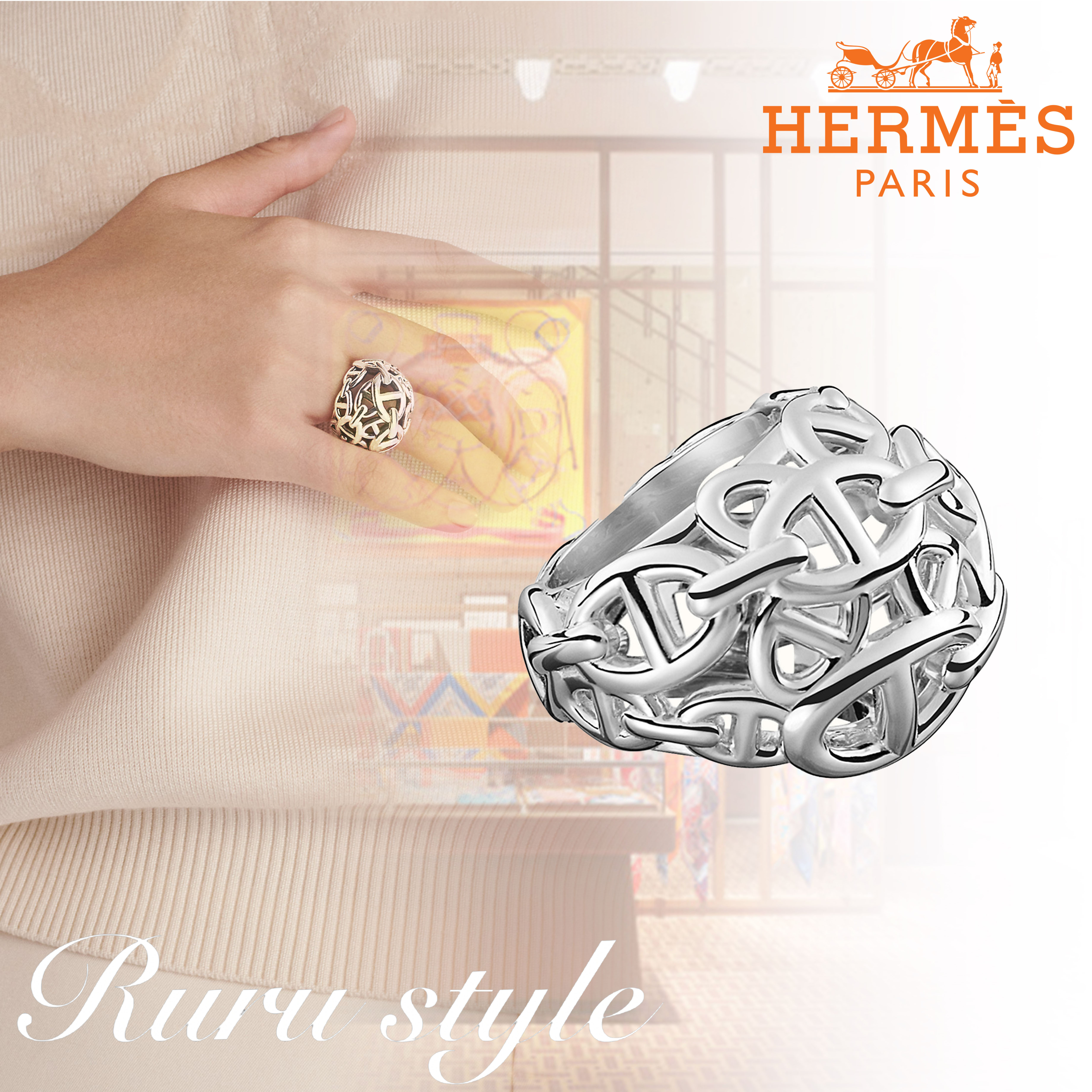 21SS最新作★直営店 HERMES  Chaine d'Ancre Enchainee リング (HERMES/指輪・リング) H114619B 00050