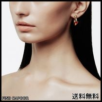 [FINDKAPOOR]HEART LINE UNBALANCECUBIC GOLD EARRINGS