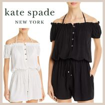 【kate spade】Ruffled Off-The-Shoulder Romper Cover-Up