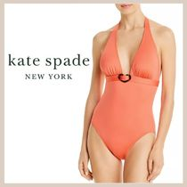 【kate spade】Tortoiseshell Halter One Piece Swimsuit