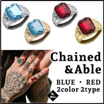 【Chained & Able/送料無料】EMERALD CUT STONE RING 2color