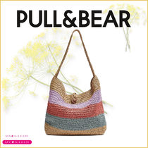 【PULL&BEAR】Multicoloured braided paper tote bag