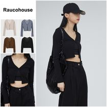 さらに100円引き◆RAUCOHOUSE◆Tension ribbed crop cardigan