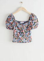 """& Other Stories""新作☆Floral Print Puff Sleeve Top(blue)"