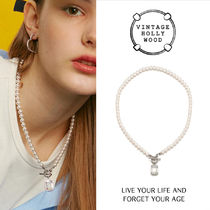 VINTAGE HOLLYWOOD★Clear Stone Drop Pearl Necklace/追跡送