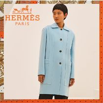 HERMES《Manteau poches H》カシミヤ ロングコート ライトブルー