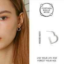 VINTAGE HOLLYWOOD★Crystal Heart Line Earring_Small/ピアス