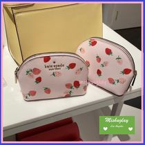 【kate spade】可愛い♪いちご柄★small dome cosmetic★ポーチ