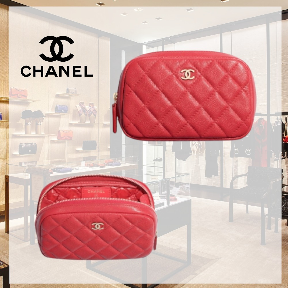 CHANEL直営店☆ポーチ カーフ 赤 ロゴ (CHANEL/ポーチ) A80909 Y33352 NA115