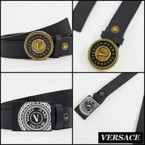 【Versace Jeans】Couture フェイクレザー ロゴ バックル ベルト