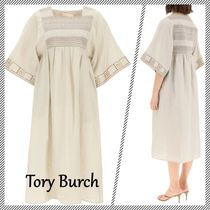 【Tory Burch】EMBROIDERED LINEN CAFTAN DRESS ワンピース