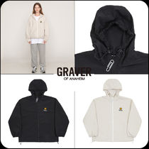 [GRAVER]★Dotboard embroidery White Clip Windbreaker
