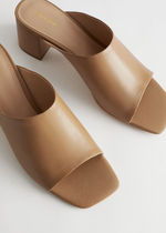 """""""& Other Stories""""☆Squared Toe Heeled Leather Sandals(beige"""