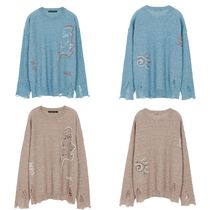 ★Andersson Bell_LINEN EMBROIDERY FACE CREWNECK SWEATER★