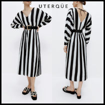【Uterque】STRIPED PLEATED DRESS
