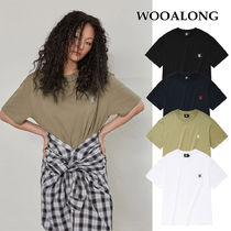 WOOALONG(ウアロン) Tシャツ・カットソー [WOOALONG] Signature embroidery short sleeved T-shirt