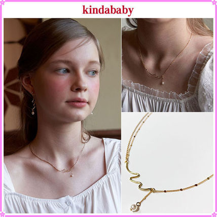 【kindababy】2 lines wave pearl necklace〜ネックレス