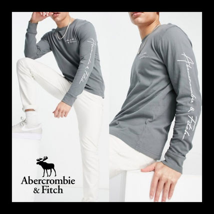 【Abercrombie & Fitch】長袖 袖ロゴ Tシャツ オリーブ 送料無料