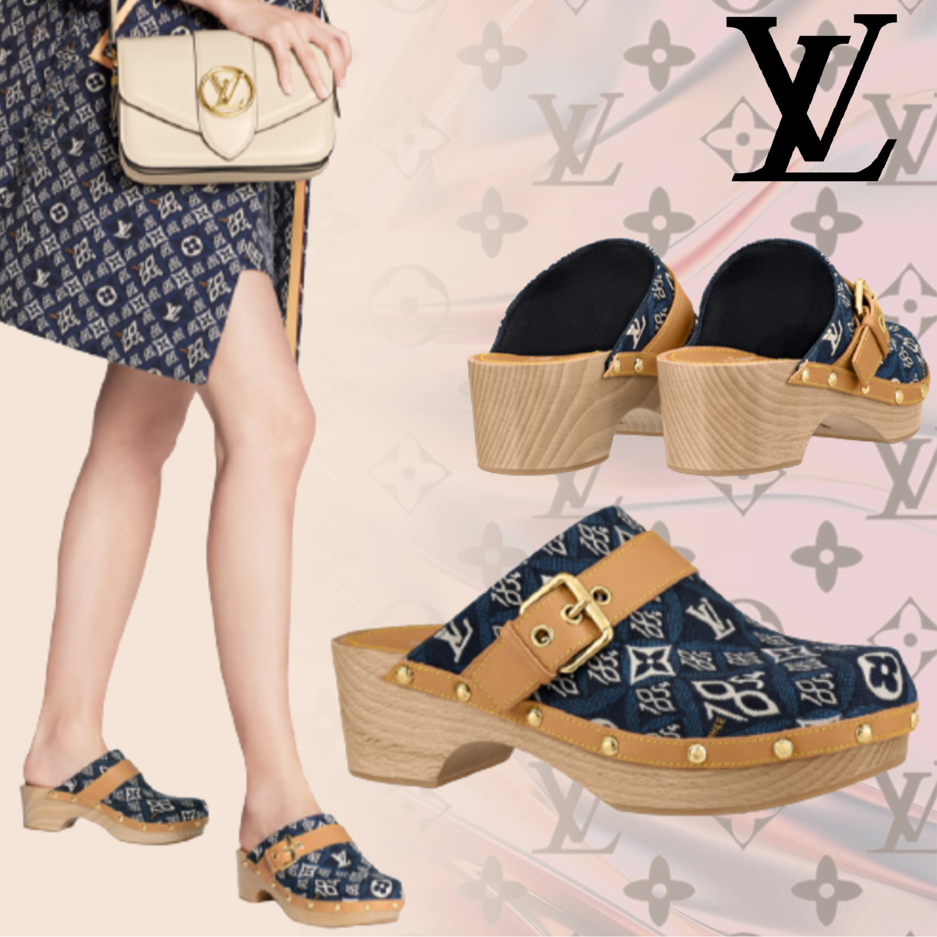 ◆SINCE 1854◆ LOUIS VUITTON コテージ サボ サンダル 青 (Louis Vuitton/サンダル・ミュール) 1A8NUH
