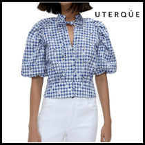 【Uterque】EMBROIDERED VICHY SHIRT