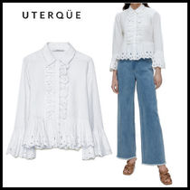 【Uterque】LINEN SHIRT WITH EMBROIDERED RUFFLE