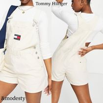 【Tommy Jeans】ダンガリーショートパンツ◆ロゴ入りサロペット