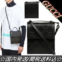 21SS☆GUCCI☆GGロゴ エンボス クロスボディバッグ 黒 関税込
