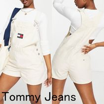 Tommy Jeans ダンガリーショートパンツ◆ロゴ入りサロペット