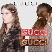 GUCCI Crystal Gucci single hair barrette バレッタ