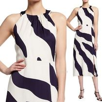 New!【Milly】Mia Zebra-Print Racerback Crepe Dress